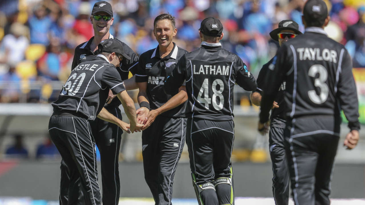 Like at Hamilton, Trent Boult made a big dent in the early part of the Indian innings. He got Shikhar Dhawan caught by Henry at third-man and then clean bowled MS Dhoni with an absolute jaffa. India were just 18/4 when Dhoni walked back. (Image: AP)