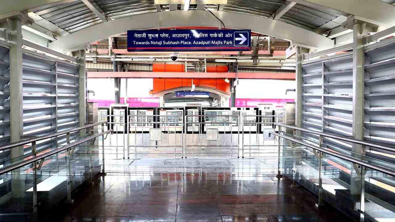 The FOB connects platforms of the Durga Bai Deshmukh South Campus Metro station of Pink Line with the concourse level of Dhaula Kuan Airport line Metro Station.
