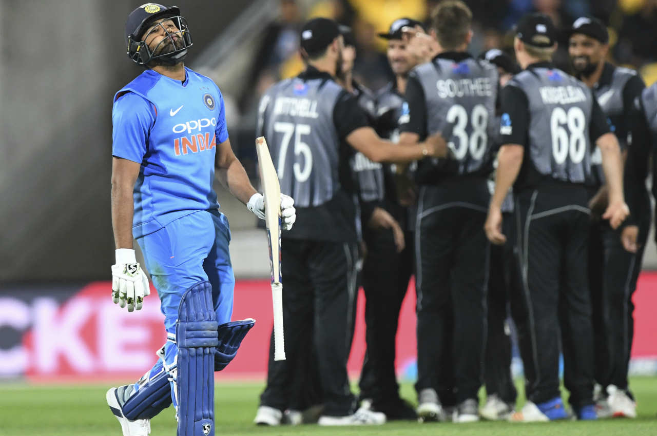Chasing a huge total of 220, the Indian chase began on a wrong note as they lost Rohit in juts the 3rd over. Rohit went for a pull shot on a Tim Southee delivery only to hole a catch to Lockie Ferguson at square leg. India were 18/1. (Image: AP)