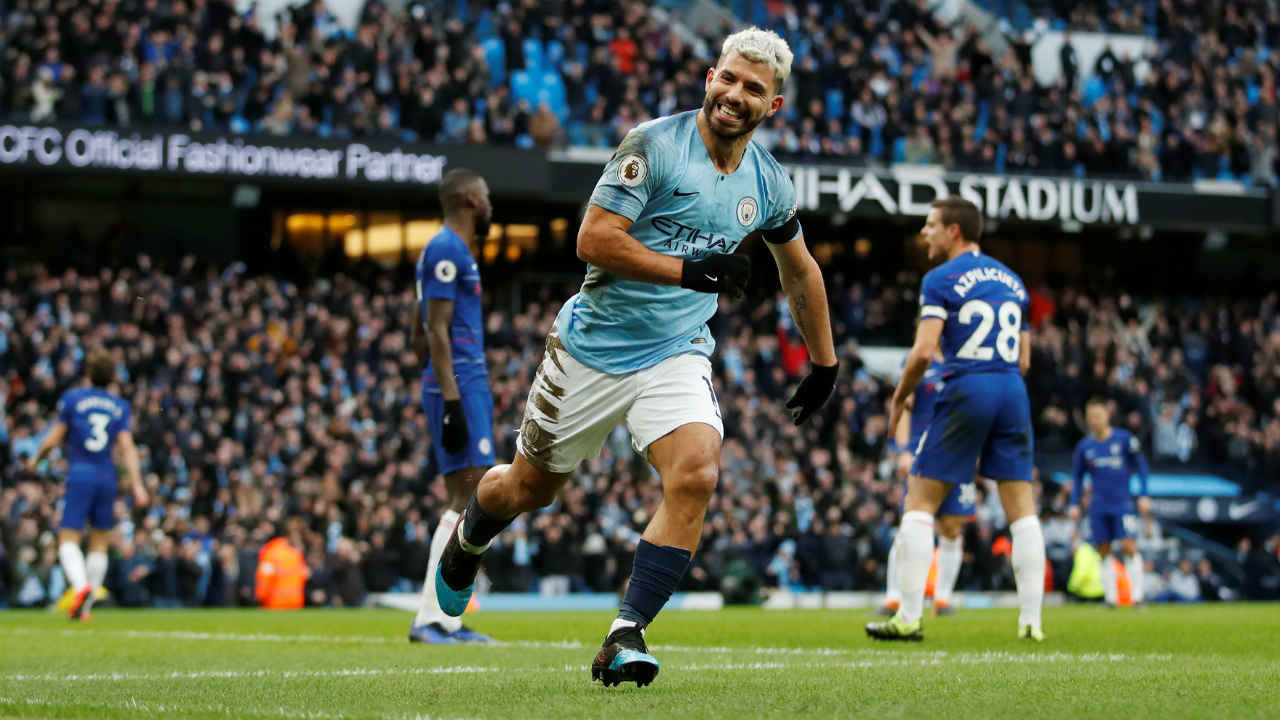 Manchester City 6 – 0 Chelsea | Sergio Aguero scored his second hat-trick in just one week as City romped to the top of the Premier League table by inflicting a humiliating 6-0 defeat on Chelsea. City were 4-0 up inside 25 minutes as Raheem Sterling (4'), Sergio Aguero (13', 19') and Ilkay Gundogan (25') all found the target. Aguero completed his hat-trick from the penalty spot after 56 minutes and Sterling added a sixth with just 10 minutes remaining. City moved to the top due to a superior goal difference having played one game more than Liverpool. (Image: Reuters)