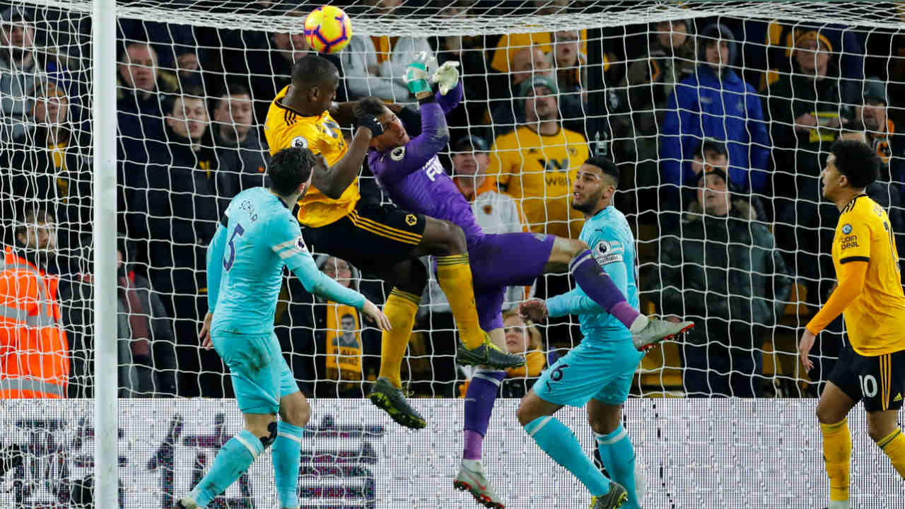 Wolverhampton Wanderers 1 – 1 Newcastle United | Isaac Hayden scored in the 56th minute following an incisive pass from Fabian Schar as Newcastle looked on course to go three points clear of the relegation zone. Willy Boly had other plans though as he climbed above keeper Martin Dubravka to score the equalizer in the final minute of the game. (Image: Reuters)