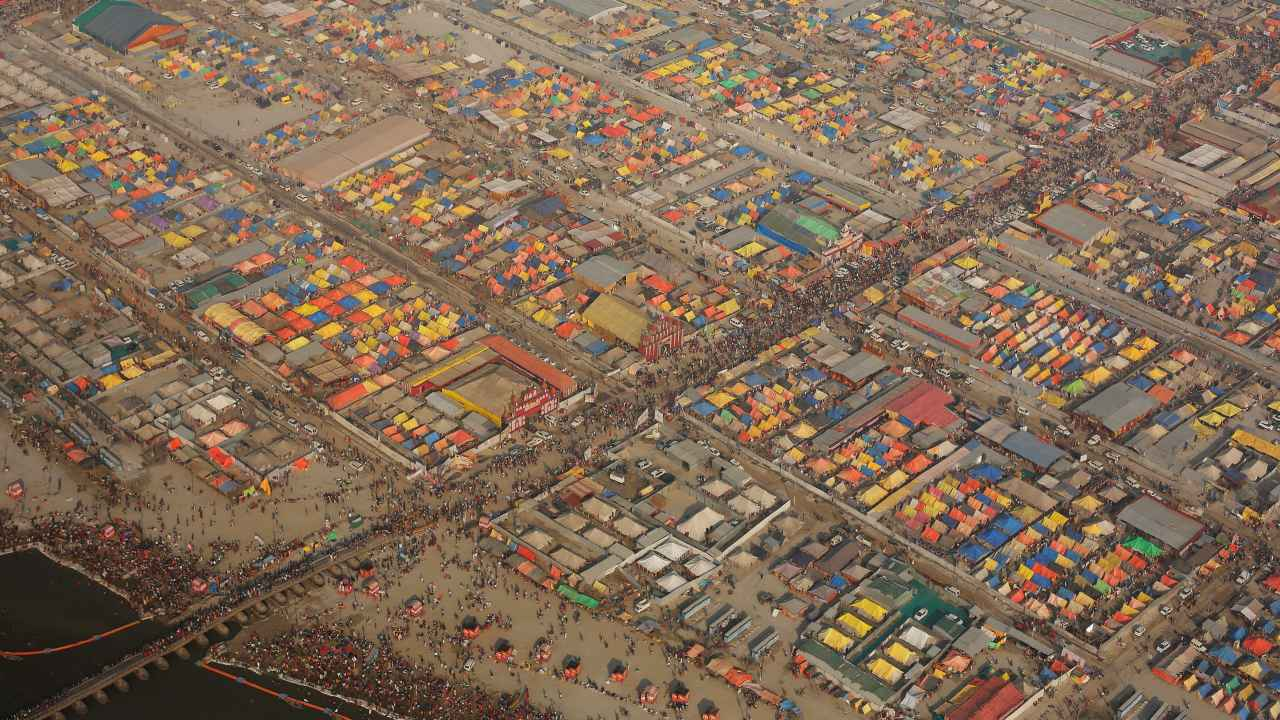 An aerial view of the camps set up for the Kumbh Mela in Prayagraj. (Image: Reuters)