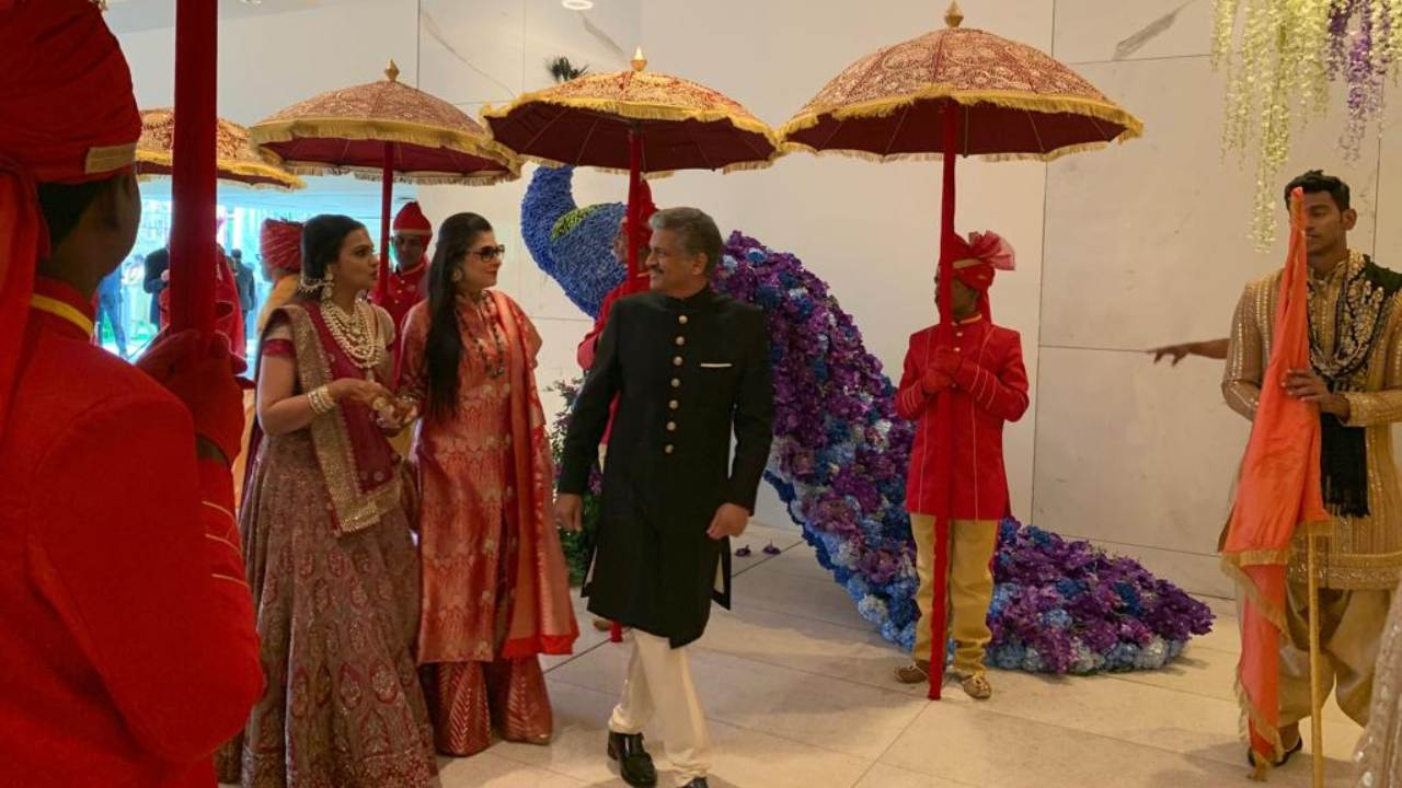 Chairmand of Mahindra Group Anand Mahindra arrives at Akash Ambani-Shloka Mehta's wedding.