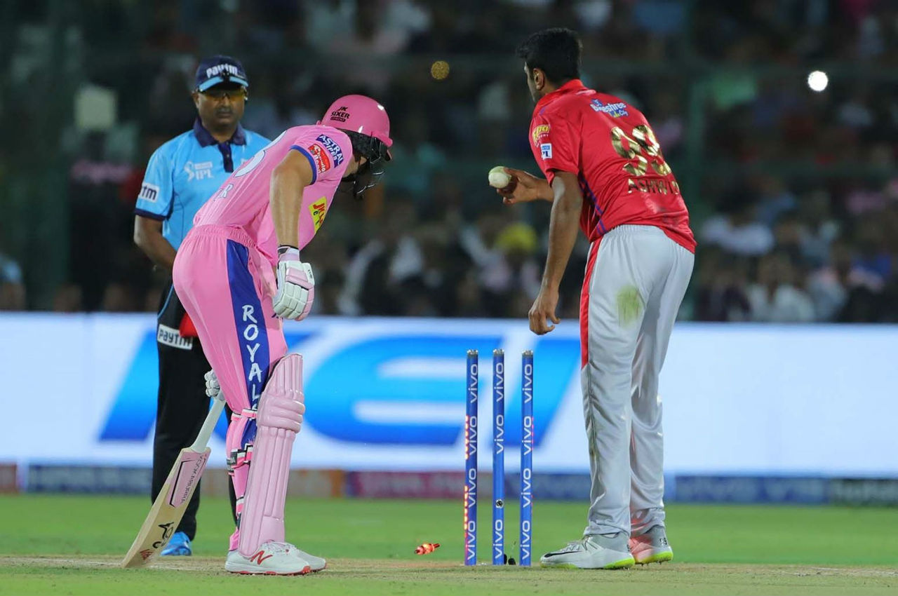 Buttler looked set to take RR to a win when in the 13th over Ashwin mankaded Buttler. The England batsman returned after making 69 off 43 balls. (Image: BCCI, iplt20.com)