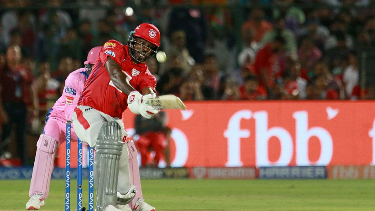 Gayle had a sedate start to his innings. One the Universe Boss got his eye in, he smashed the ball to all parts of the ground completing his fifty. (Image: BCCI, iplt20.com)