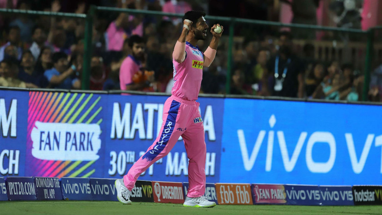Gowtham took a good catch in the deep to dismiss Gayle in the 16th over. Gayle made 79 off 47 balls. (Image: BCCI, iplt20.com)