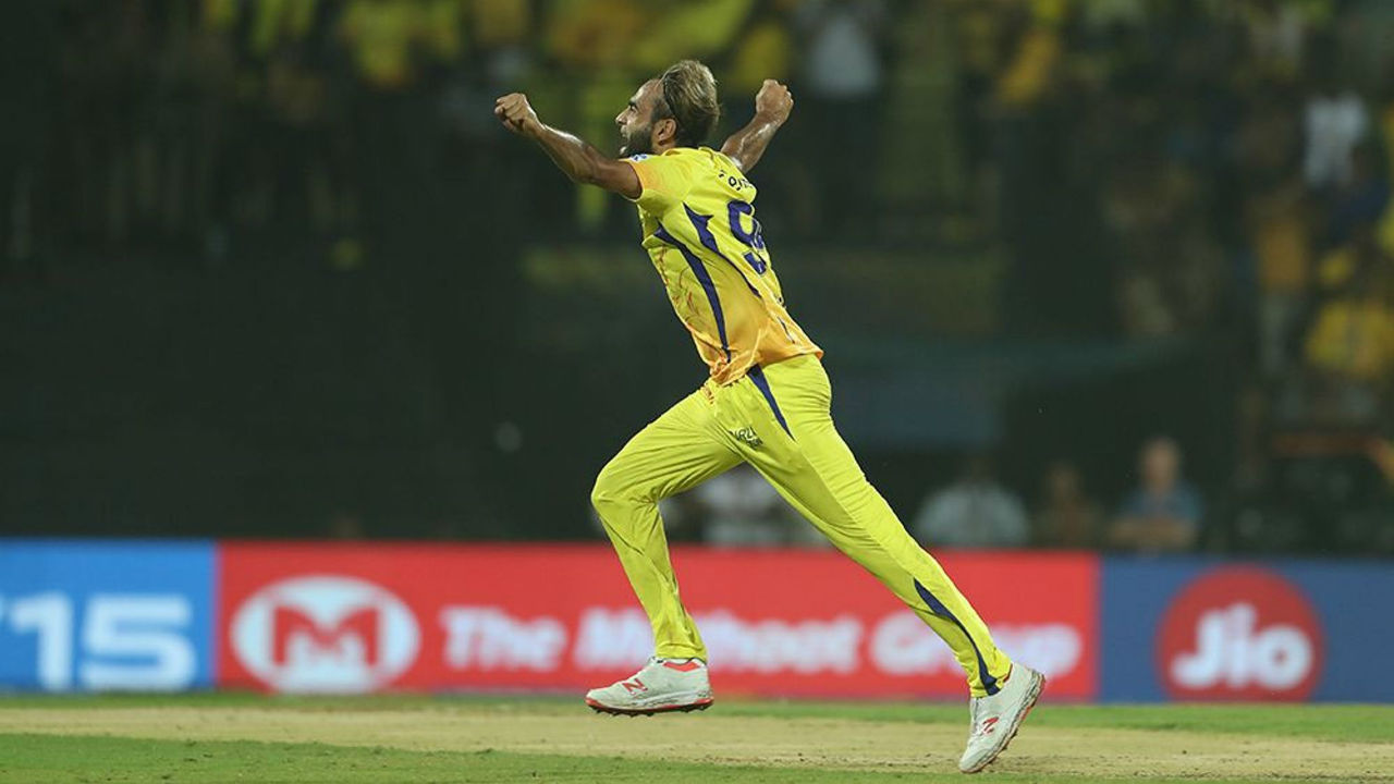 Imran Tahir burst into his trademark celebration as Tripathi played a ball straight back to him on the last delivery of the 10th over. Tripathi walked back after scoring 39 off 24 balls. RR were struggling at 75/4.