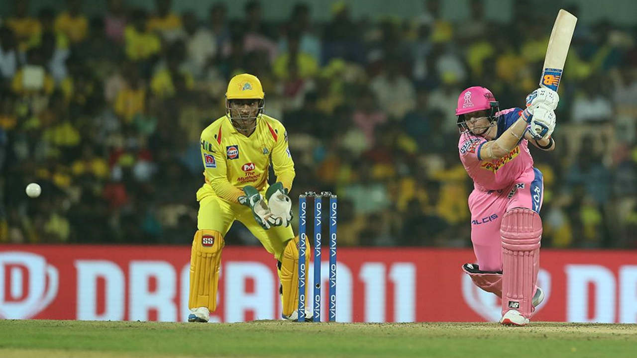 Steve Smith in association with Rahul Tripathi stabilized the RR chase in the middle overs with a fifty run stand.