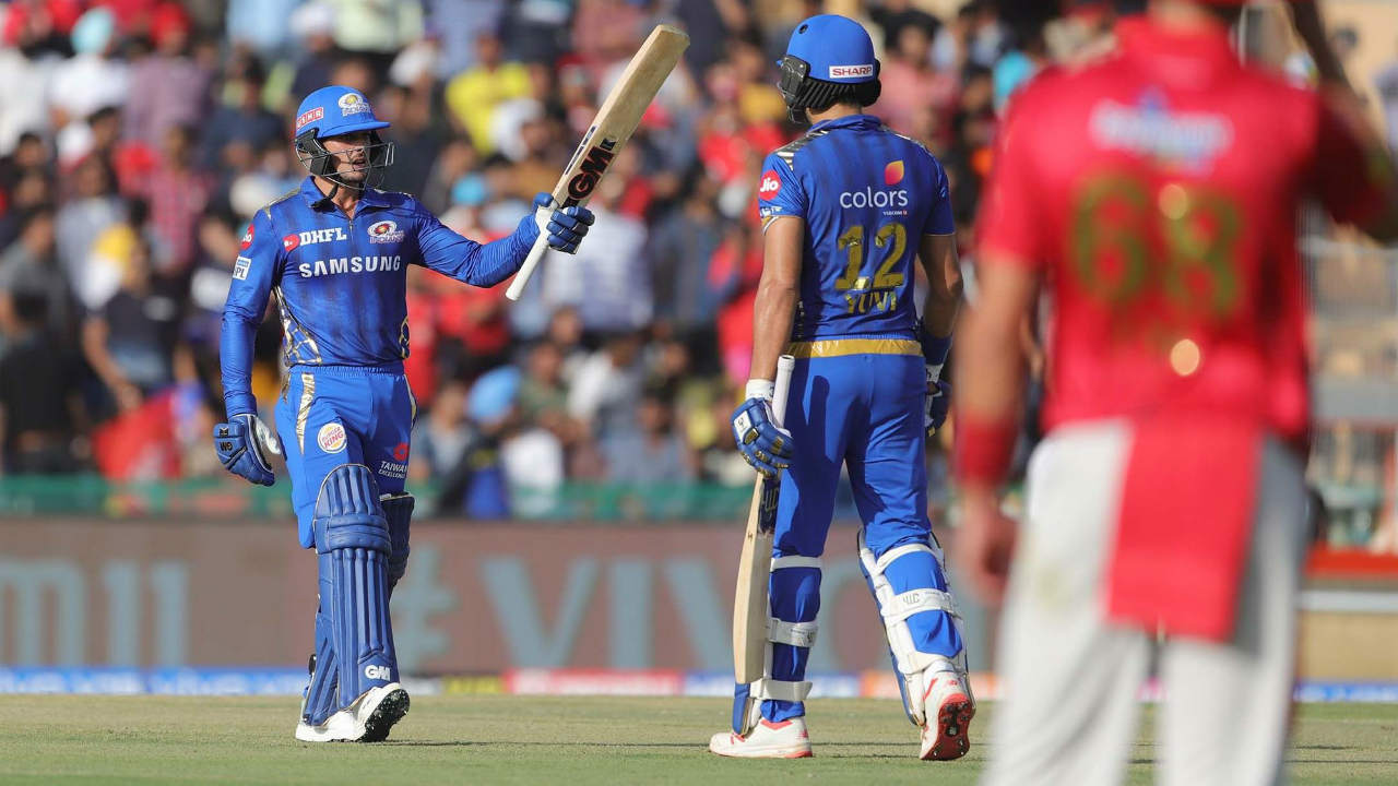 de Kock played a fine innings of 60 from 39 deliveries before he too was dismissed LBW. Mohammed Shami sent the southpaw back in the 13th over with MI score reading 120/3