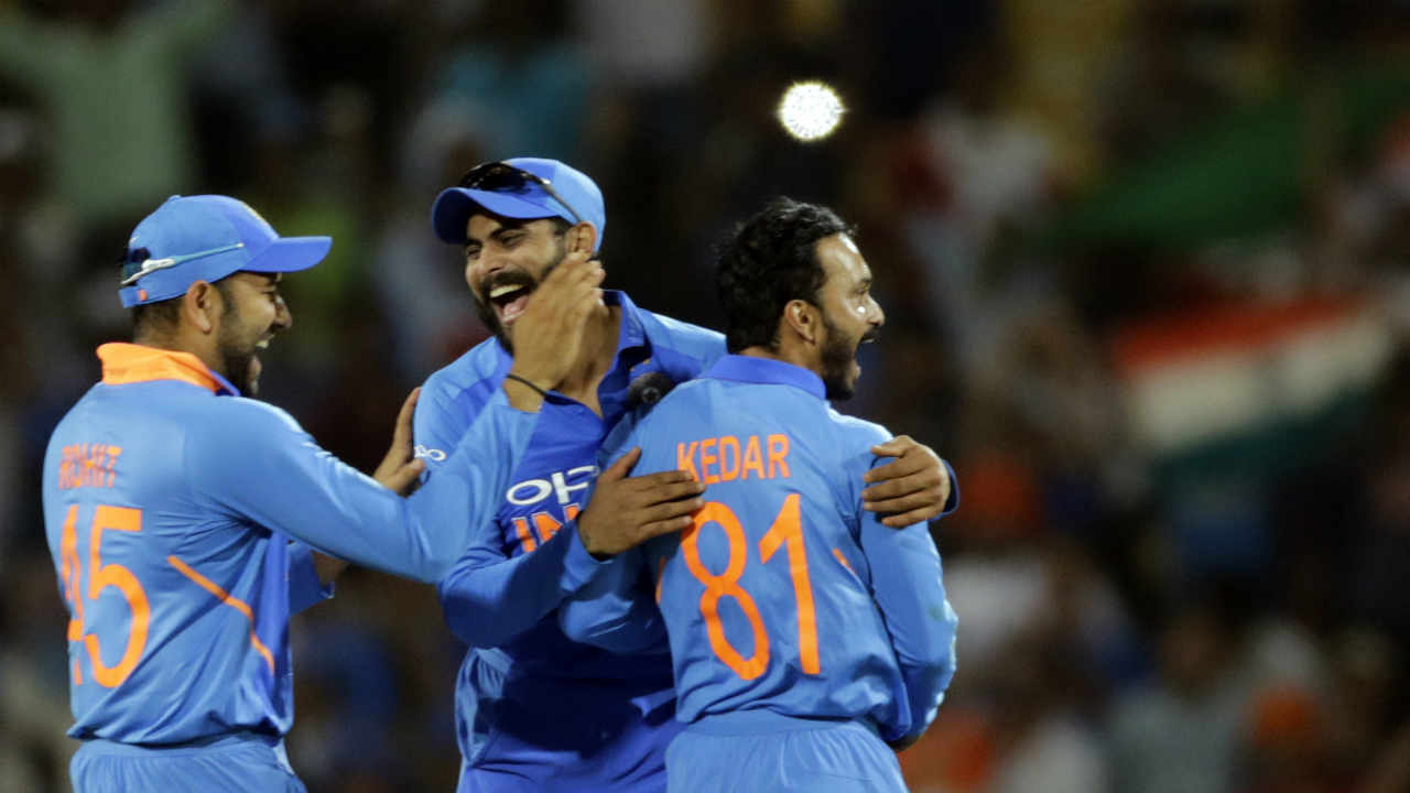 After the fast start, India pulled Australia back with two quick wickets. Kuldeep Yadav first trapped Finch in front of the wickets following which Jadhav got Khawaja caught by Kohli caught at extra-cover. Finch and Khawaja made 37 and 38 respectively. Australia were reduced to 83/2. (Image: AP)