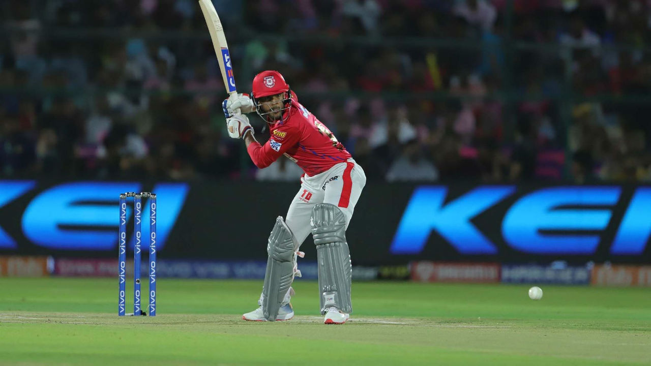 Mayank Agarwal and Chris Gayle steadied the innings and took the Punjab's score to 60/1 in 8 overs. (Image: BCCI, iplt20.com)