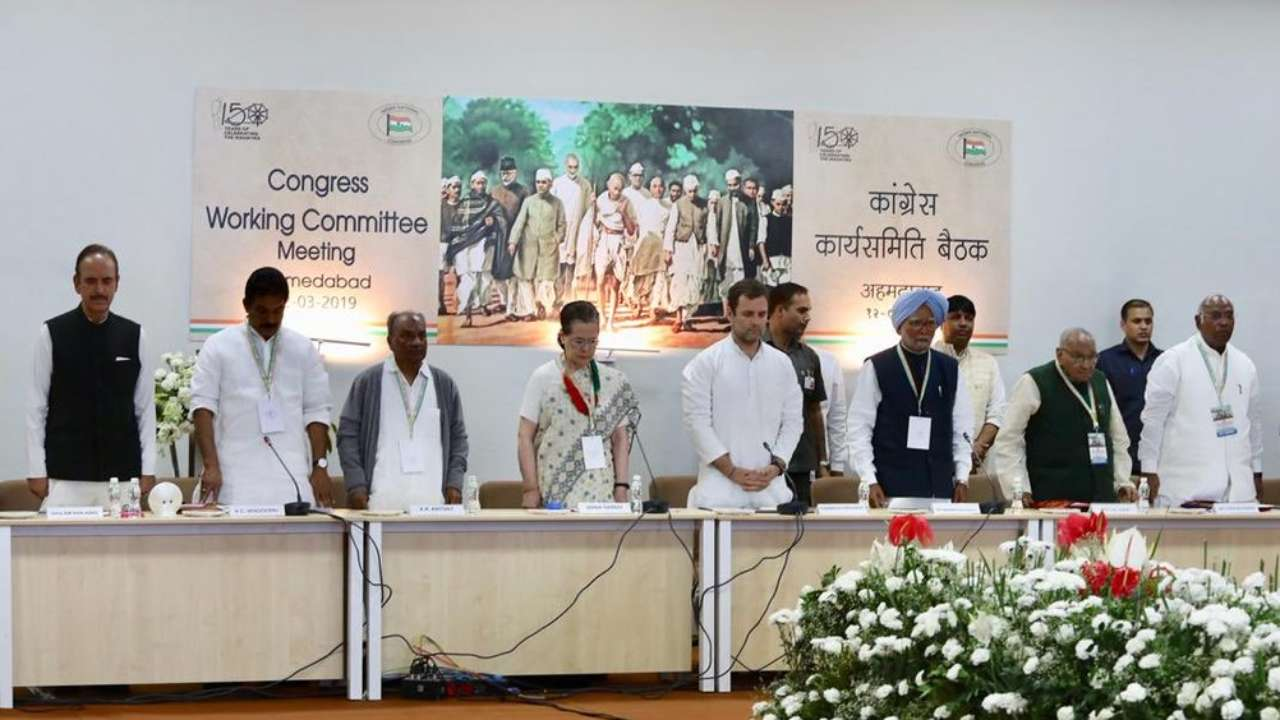 On the anniversary of Gandhiji's Dandi March, the party president Rahul Gandhi addresses the Congress Working Committee (CWC) in Ahmedabad. (Image: PTI)