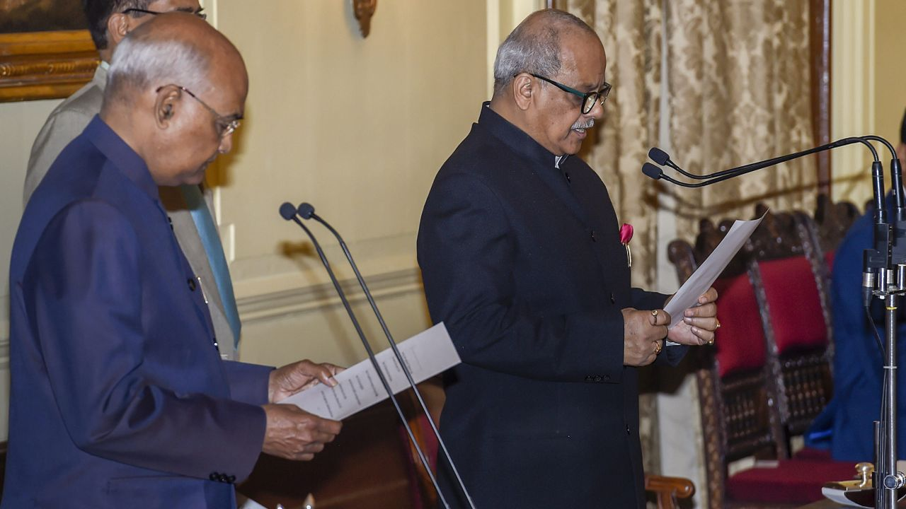President Ram Nath Kovind administers the oath of office as Chairperson of Lokpal upon Justice Pinaki Chandra Ghose, at Rashtrapati Bhavan in New Delhi. (PTI)