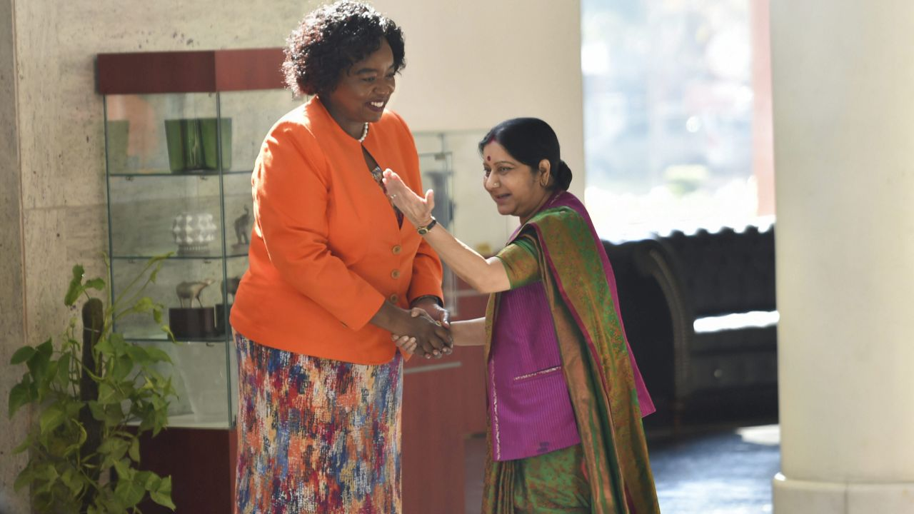 External Affairs Minister Sushma Swaraj shakes hands with Cabinet Secretary for Foreign Affairs and International Trade of Kenya Monica K Juma before a meeting, in New Delhi. (PTI)
