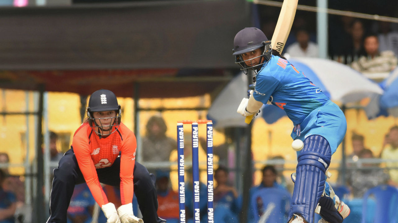 India's Mithali Raj plays a shot during the 2nd T20 International cricket match against England at Barsapara Cricket Stadium, in Guwahati, Assam. (Image: PTI)