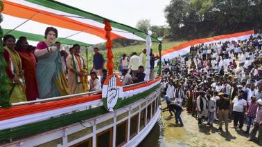 Priyanka Gandhi rides boat to test political waters in Uttar Pradesh