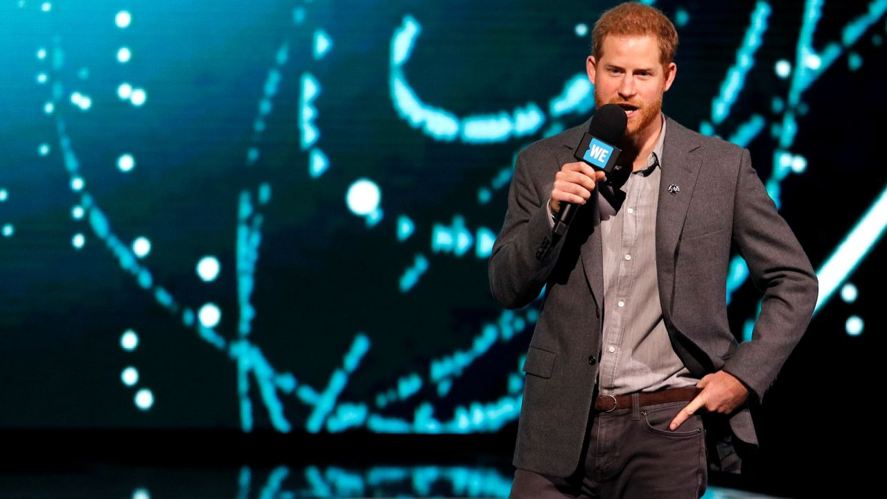 Britain's Prince Harry speaks during the WE Day UK event at the SSE Arena in Wembley, London, Britain. (Reuters)