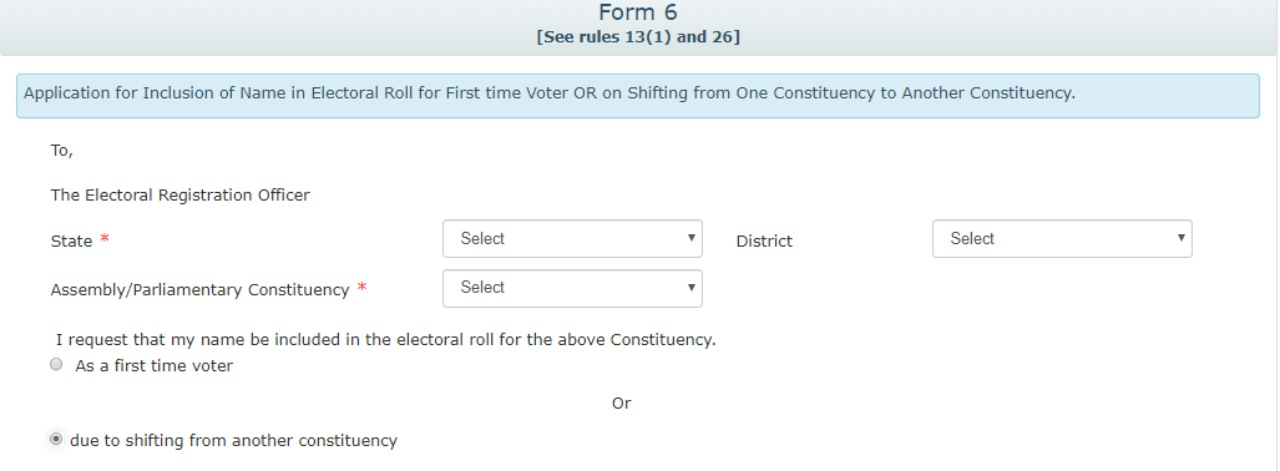 Step 1: Fill all the necessary information in the State, District Assembly/Parliamentary Constituency and District column and choose 'due to shifting from another constituency' option to update your current address on the voter ID card. (Image: National Voters' Service Portal)