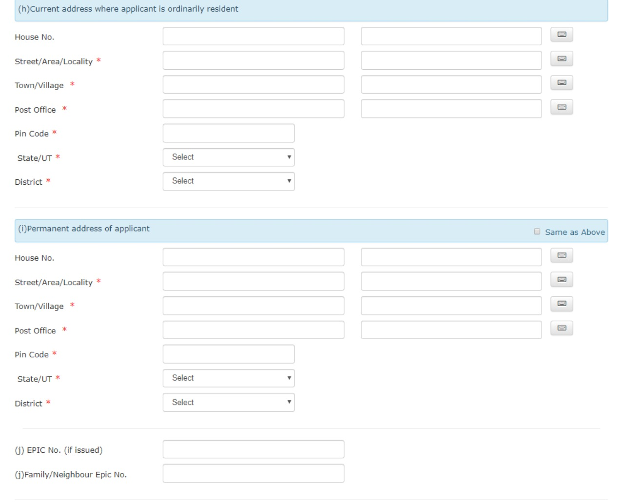 Step 3: In the next two sections, provide your current and permanent address. (Image: National Voters' Service Portal)