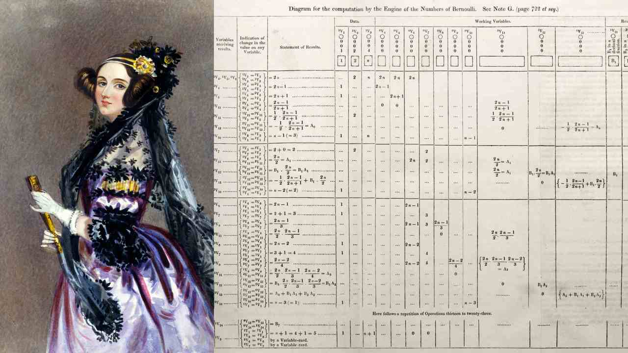 7. Ada Lovelace - Computer algorithm | She was an English mathematician from the early 19th century who recognised that a 'computing machine' (one of the precursors of the computer) can do more than just calculations. She is considered as the first computer programmer. (In this picture: A portrait of Ada Lovelace and the first algorithm drawn by her) (Images: Wikimedia Commons)