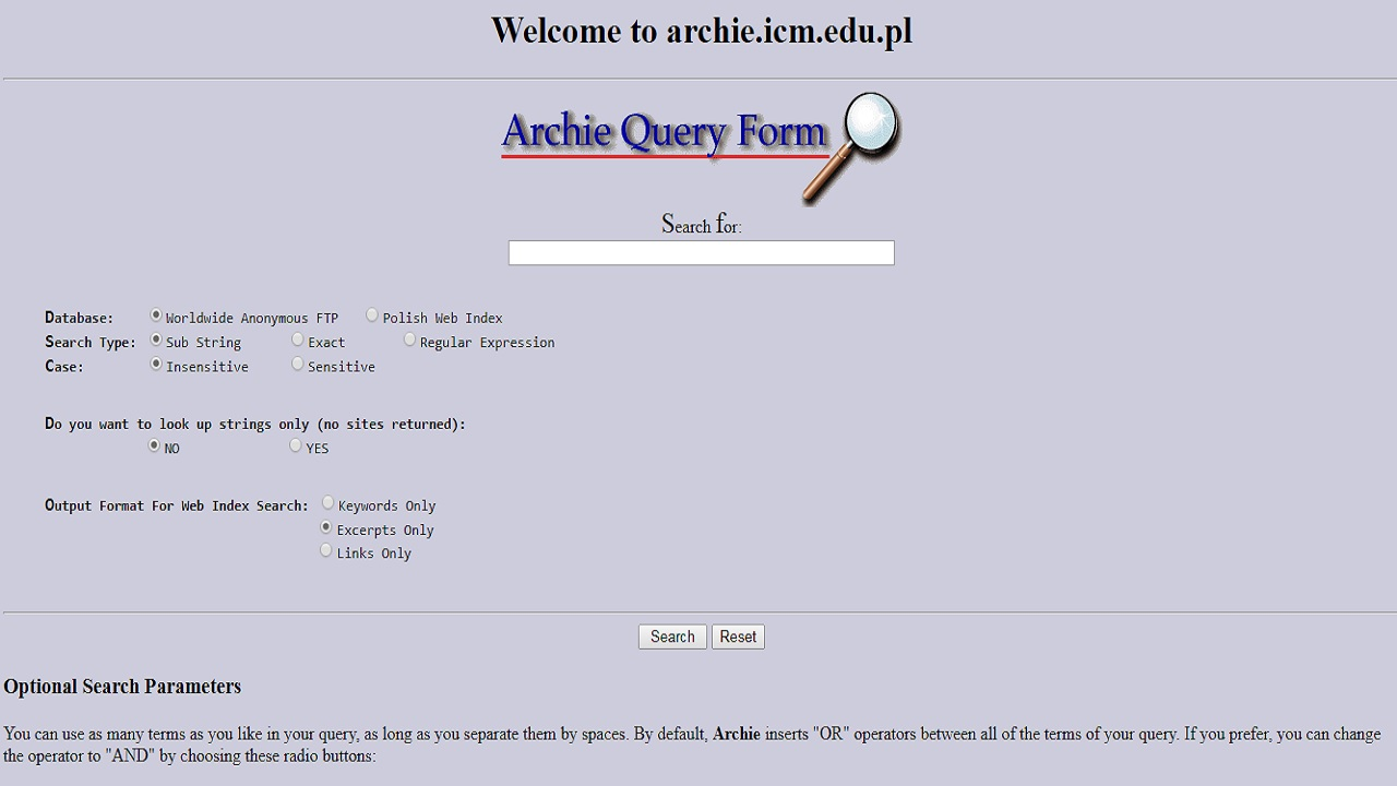 Archie was the first internet search engine and it helped people to find specific files. It was created by Alan Emtage and Bill Heelan. (Image: Screengrab of the website)