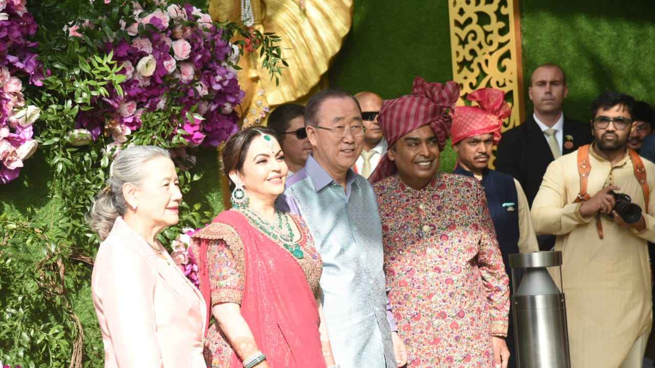 Former United Nations General Secretary Ban-Ki-moon and his wife Yoo Soon-taek are greeted by Mukesh Ambani and Nita Ambani at the wedding gates.