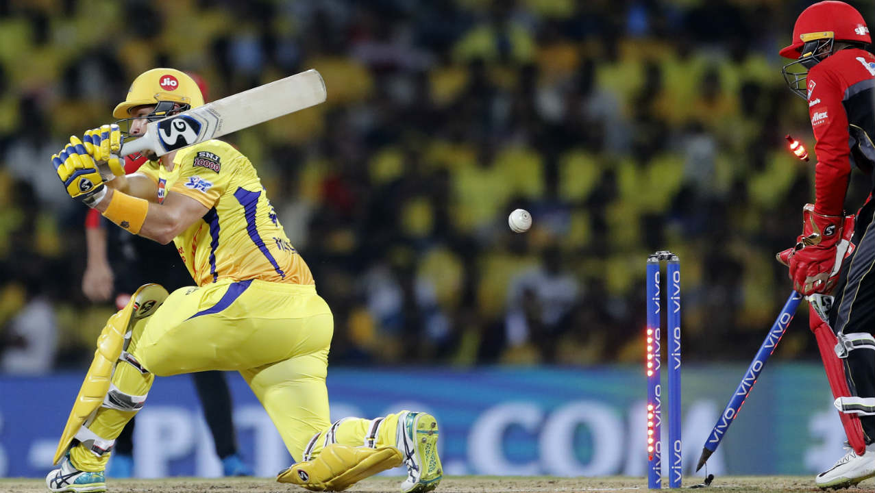 Chennai's run-chase got off to an inauspicious start as they lose Shane Watson for a duck in just the 3rd over. Watson went looking for a big shot off Yuzvendra Chahal but missed the ball completely as it crashed into the stumps. (Image: AP)
