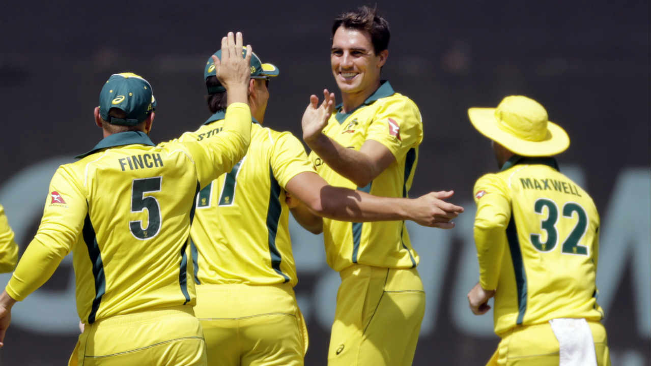 Australia got off to a bright start with pacer Pat Cummins removing Raohi Sharma on a duck in the very first over of the match. Sharma. The Indian opener was forced to play an upper cut on a bouncer which was rightfully caught by Adam Zampa at third-man. (Image: AP)