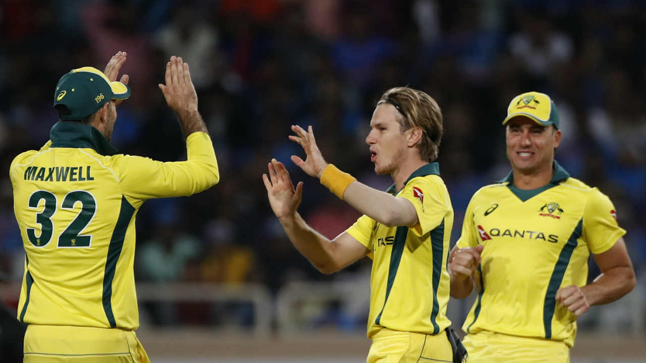 Kohli along with Kedar Jadhav put up an 86-run stand before Zampa trapped the later in front of the wicket. India were struggling at 174/5 when Jadhav got out. (Image: AP)