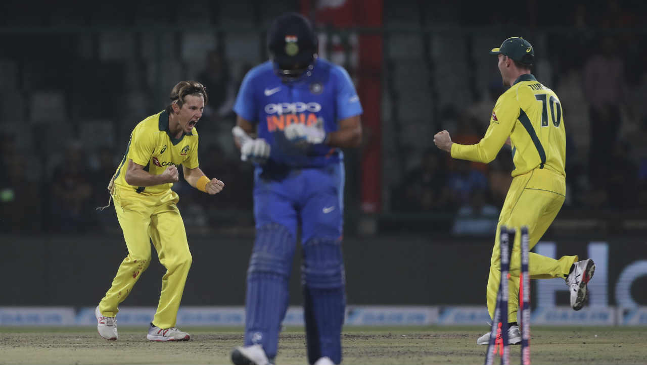 Soon, Zampa bowled a brilliant double wicket maiden in which he got Rohit and Ravindra Jadeja stumped. Rohit made a composed 56 while Jadeja was out on a Duck. India were reeling 132/6 when Jadeja walked back. (Image: AP)