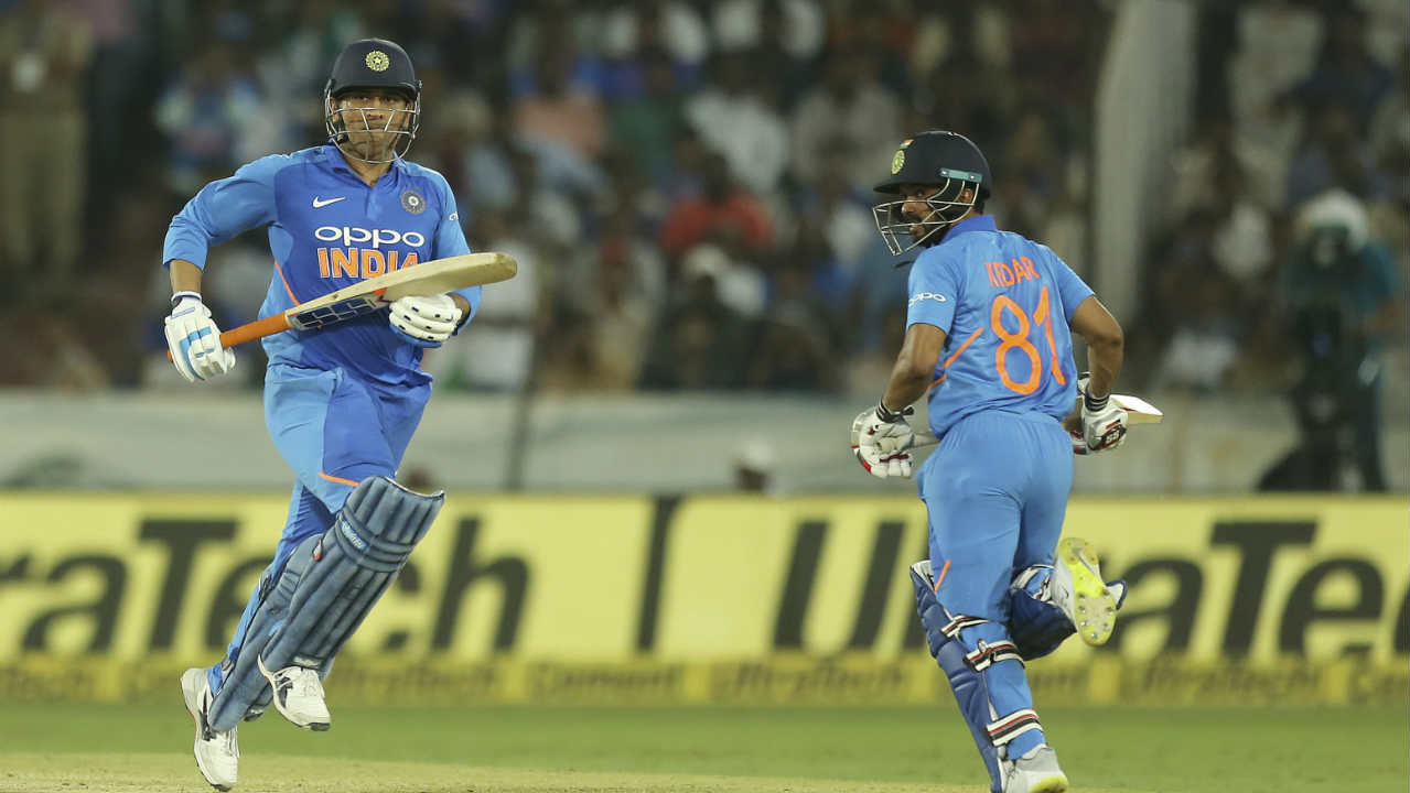 Rayudu proved to be the last casualty for India as MS Dhoni and Kedar Jadhav batted well to stitch together a mammoth partnership to steer the Indian chase. During the course of the partnership the two batsmen completed their respective fifties. While Jadhav completed his fifty in the 43rd over, Dhoni reached his half-century in the 48th over. (Image: AP)