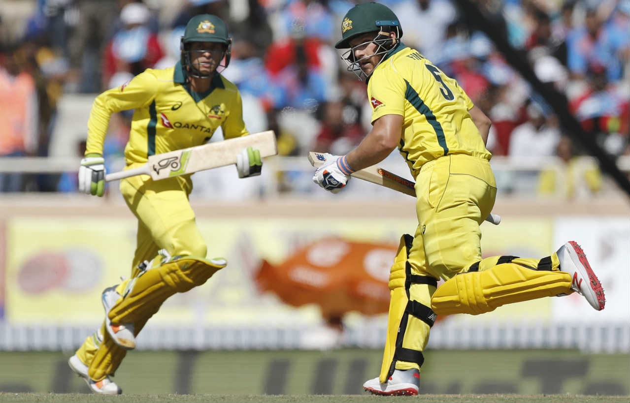 Australian openers Aaron Finch and Usman Khawaja took the Indian attack to the cleaners as they plundered 124 runs in the first 20 overs . In the process both batsmen completed their respective fifties. The partnership ended in the 32nd over when Kuldeep trapped Finch LBW. The Aussie skipper was dismissed on 93 after sharing a 193-run stand with Khawaja. (Image: AP)