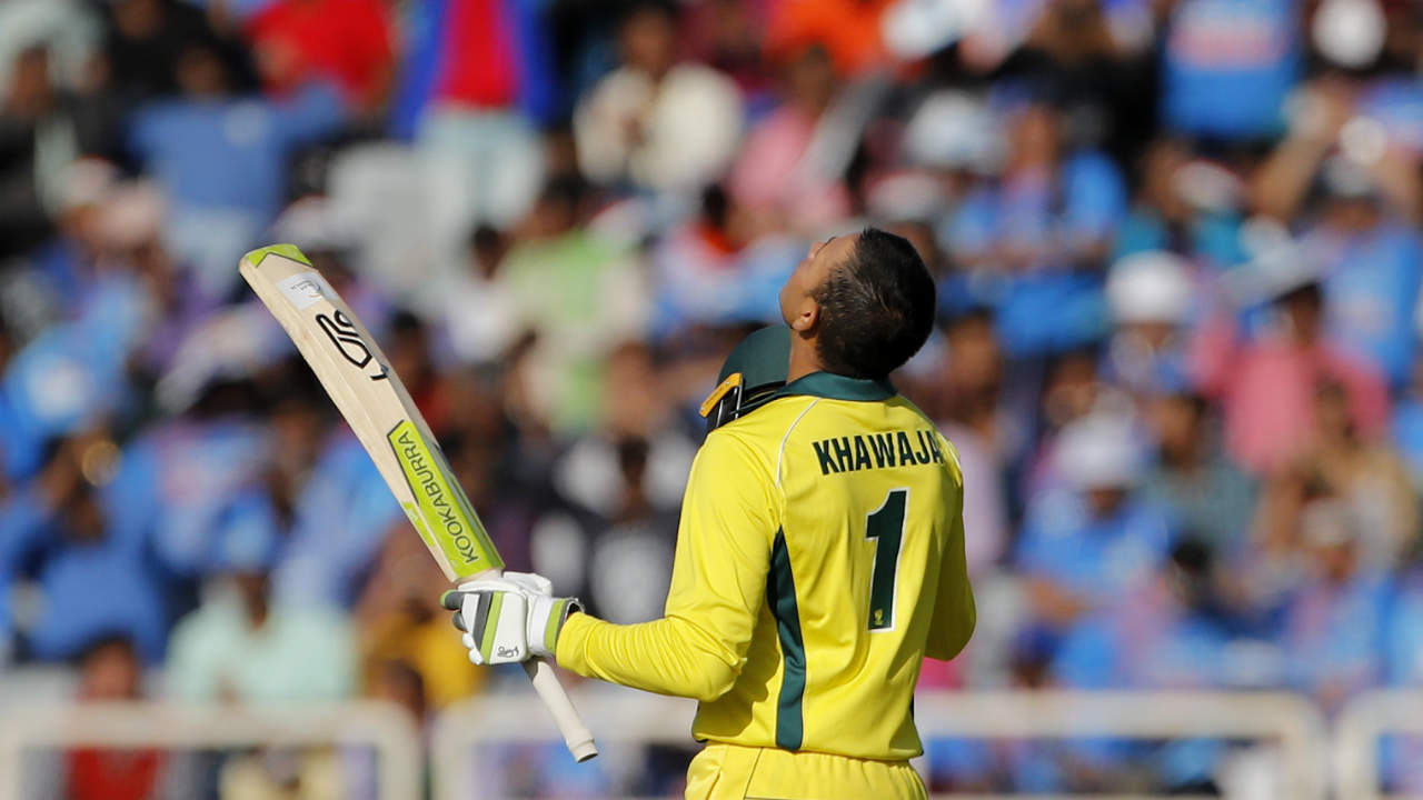 Khawaja went on to bring up his maiden ODI century in the 37th over off 107 balls. He shared a 46-run stand with a dominant Glenn Maxwell but was dismissed in the 39th over as he miscued a shot off Mohammed Shami straight towards Jasprit Bumrah at midwicket. (Image: AP)