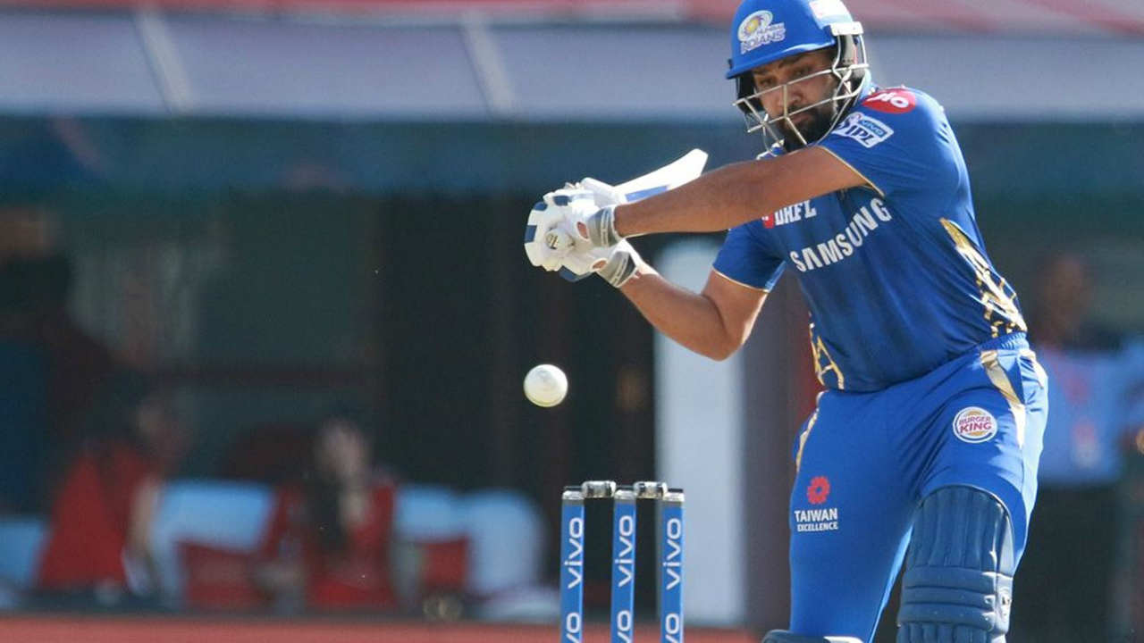 Mumbai's opening duo of Rohit Sharma and Quinton de Kock put up an opening stand of 51 runs in first five overs. Rohit was trapped in front of the wicket by Hardus Viljoen in the 6th over. Mumbai's score read 51/2 when its skipper walked back.(Image: BCCI, iplt20.com)
