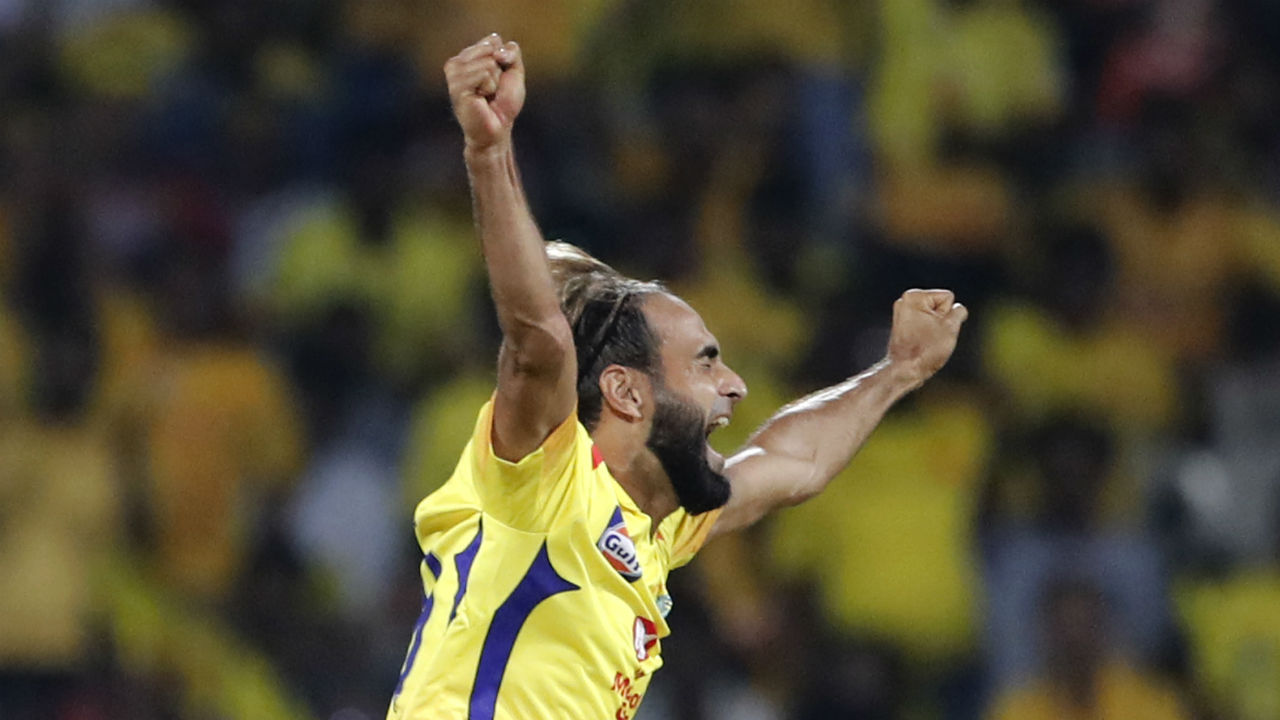Imran Tahir bowled a brilliant spell in the middle overs as he scalped the wickets of Shivam Dube, Navdeep Saini and Yuzvendra Chahal. The South African leg sipper finished with the spell of 4-1-9-3. Wickets kept tumbling at regular interval for RCB and as Chahal walked back the team was struggling at 59/8. (Image: AP)