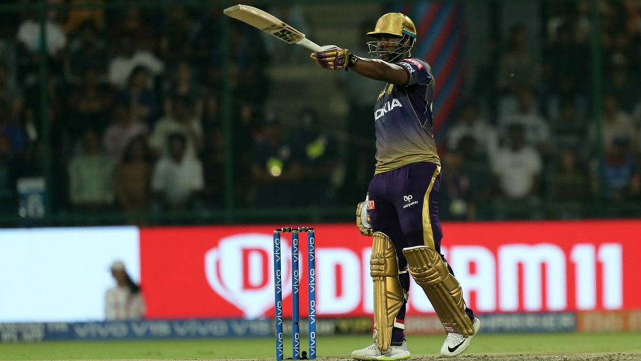Andre Russell and Dinesh Karthik then stitched together a brilliant 95-run partnership of just 53 balls to bring Kolkata back into the game. Russell who was hit on the shoulder by a Harshal Patel beamer in the 14th over brought up his fifty off 23 balls and finished with 62 off 28 balls when he was finally dismissed by Chris Morris in the 18th over. KKR were at 156/6 at the fall of Russell's wicket. (Image: BCCI, iplt20.com)