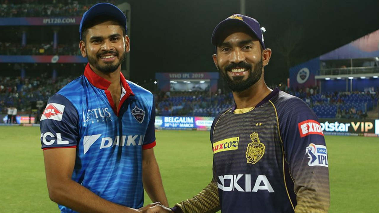 Kolkata Knight Riders travelled to Delhi to take on the Delhi Capitals in match 10 of the 2019 IPL. Shreyas Iyer won the toss and opted to bowl. KKR made just one change to their squad with Nikhil Naik coming in for the injured Sunil Narine. DC made four changes with Hanuma Vihari, Harshal Patel, Chris Morris and Sandeep Lamichhane all coming into the side. (Image: BCCI, iplt20.com)