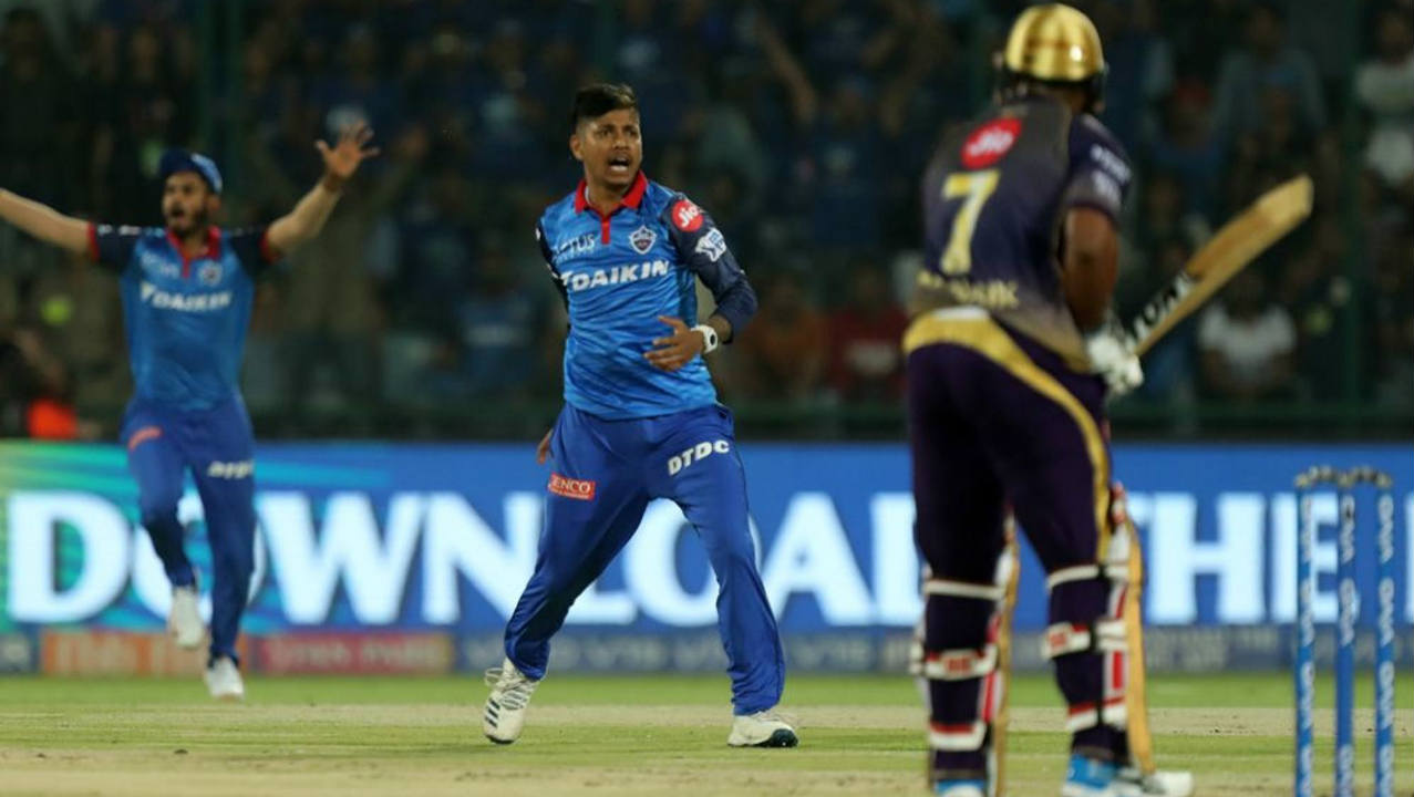 KKR got off to a horrid start as Naik who took 16 balls to get to his 7 runs was trapped plumb in front of the wickets by 18-year-old Sandeep Lamichhane. Naik went for the review which resulted in KKR losing both the wicket and their review. (Image: BCCI, iplt20.com)