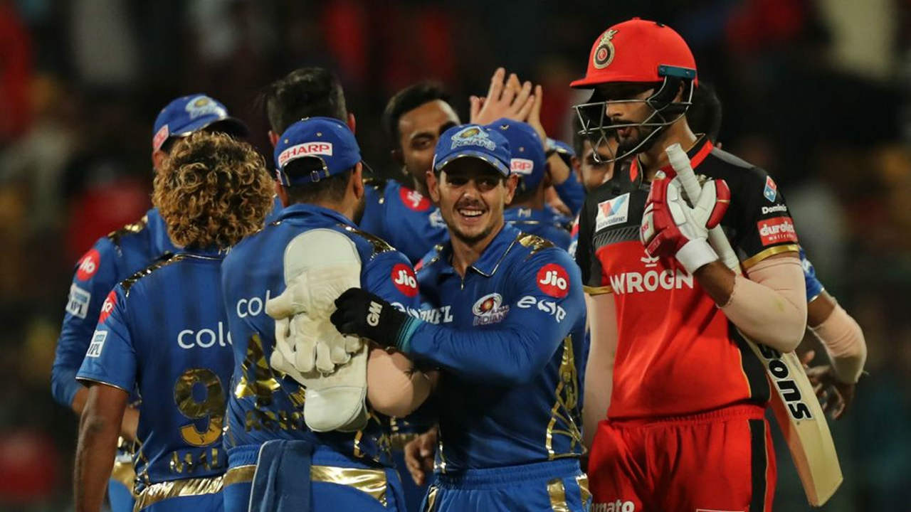 With 17 required off the final over Shivam Dube deposited Malinga for a six off the very first delivery to give RCB some hope. However, Malinga held his nerve to take Mumbai to a 6-run victory with pinpoint yorkers. There was controversy at the end of the game as Malinga overstepped on the final delivery with RCB needing 7 runs. However, Dube couldn't find the boundary and the umpire's didn't spot the no-ball. (Image: BCCI, iplt20.com)