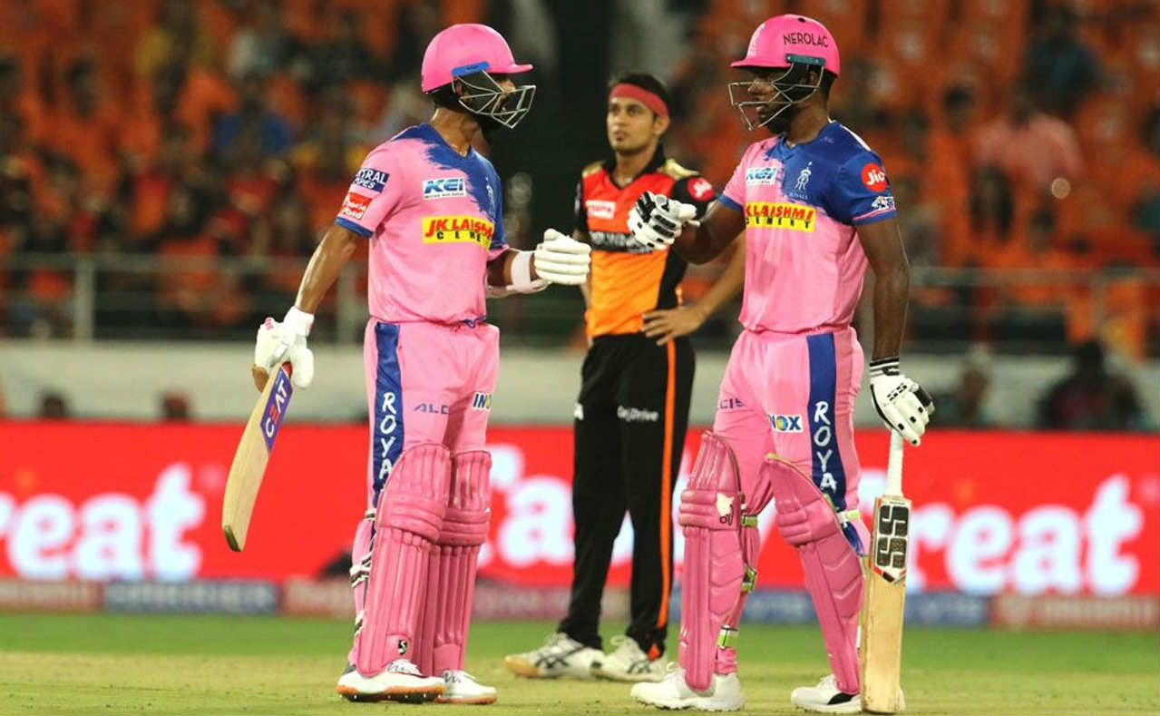 Ajinkya Rahane and Sanju Samson then stitched together a dominant 119-run partnership to take Rajasthan Royals to a dominant position after a sedate powerplay. Both batsmen brought up their fifties during the partnership. Rahane was the first to get to the half-century taking just 38 balls. (Image: BCCI, iplt20.com)