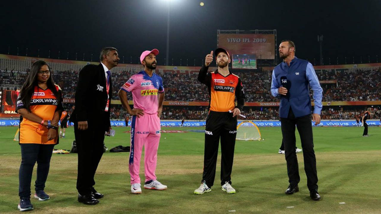 Rajasthan Royals travelled to Hyderabad for match 8 of the 2019 IPL season. Ajinkya Rahane won the toss and opted to bat first. Rajasthan came into this game with an unchanged squad. Hyderabad made two changes with Kane Williamson and Shahbaz Nadeem coming in for Shakib Al Hasan and Deepak Hooda. (Image: BCCI, iplt20.com)
