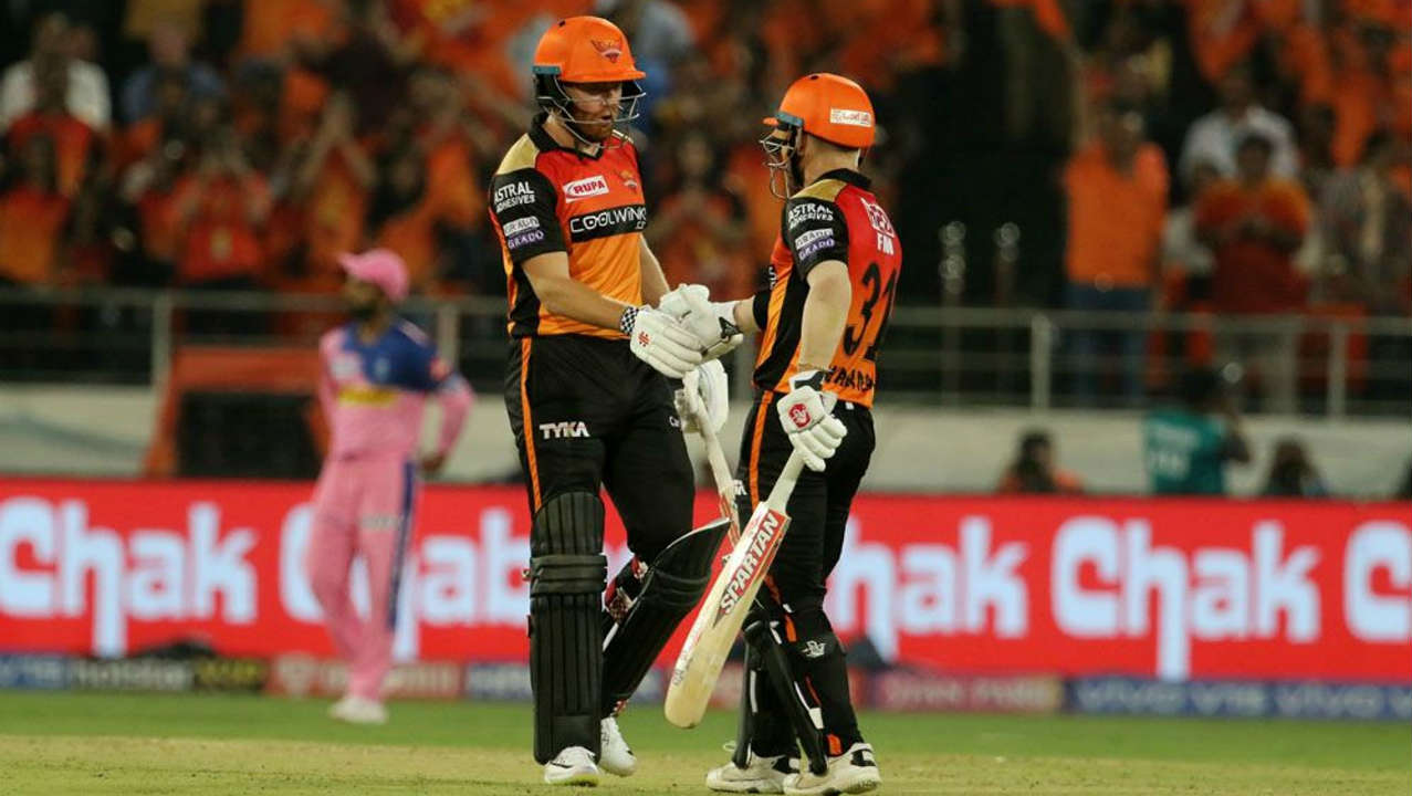 David Warner and Jonny Bairstow got the Sunrisers off to a flying start scoring 69 runs inside the first 6 powerplay overs. They stitched together a 110 run partnership for the first wicket with Warner doing the bulk of the scoring adding 69 off just 37 balls. Warner was the first to depart when Stokes got him caught out at fine leg in the 10th over. (Image: BCCI, iplt20.com)