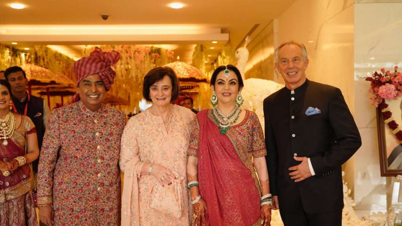 Mukesh and Nita Ambani welcome former UK Prime Minister Tony Blair and wife Cherie at the wedding of Akash Ambani and Shloka Mehta.