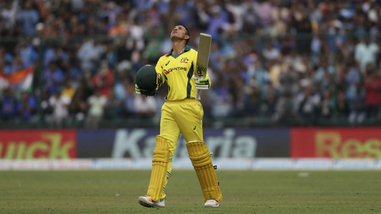 Usman Khawaja's innings came to an end when he edged a delivery from Bhuvneshwar Kumar to Kohli standing at cover in the 33rd over. Khawaja walked back after making 100 off 106 balls. His innings was laced with 10 boundaries and 2 sixes. (Image: AP)