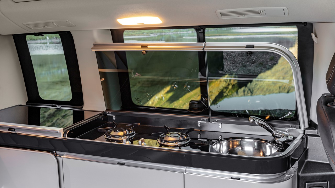 The car also has an integrated mini kitchen, making it an almost self-sufficient house on wheels. (Image: Mercedes-Benz)