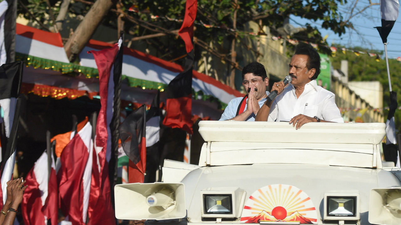 Dravida Munnetra Kazhagam (DMK) President MK Stalin during an election rally for Dayanidhi Maran the party candidate from Central Chennai Lok Sabha constituency in Chennai, Tamil Nadu on April 16. (Image: ANI)