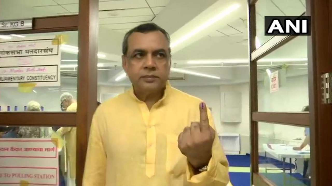 BJP sitting MP Paresh Rawal cast his vote at polling booth number 250-256 at Jamna Bai School in Vile Parle. (Image: ANI)