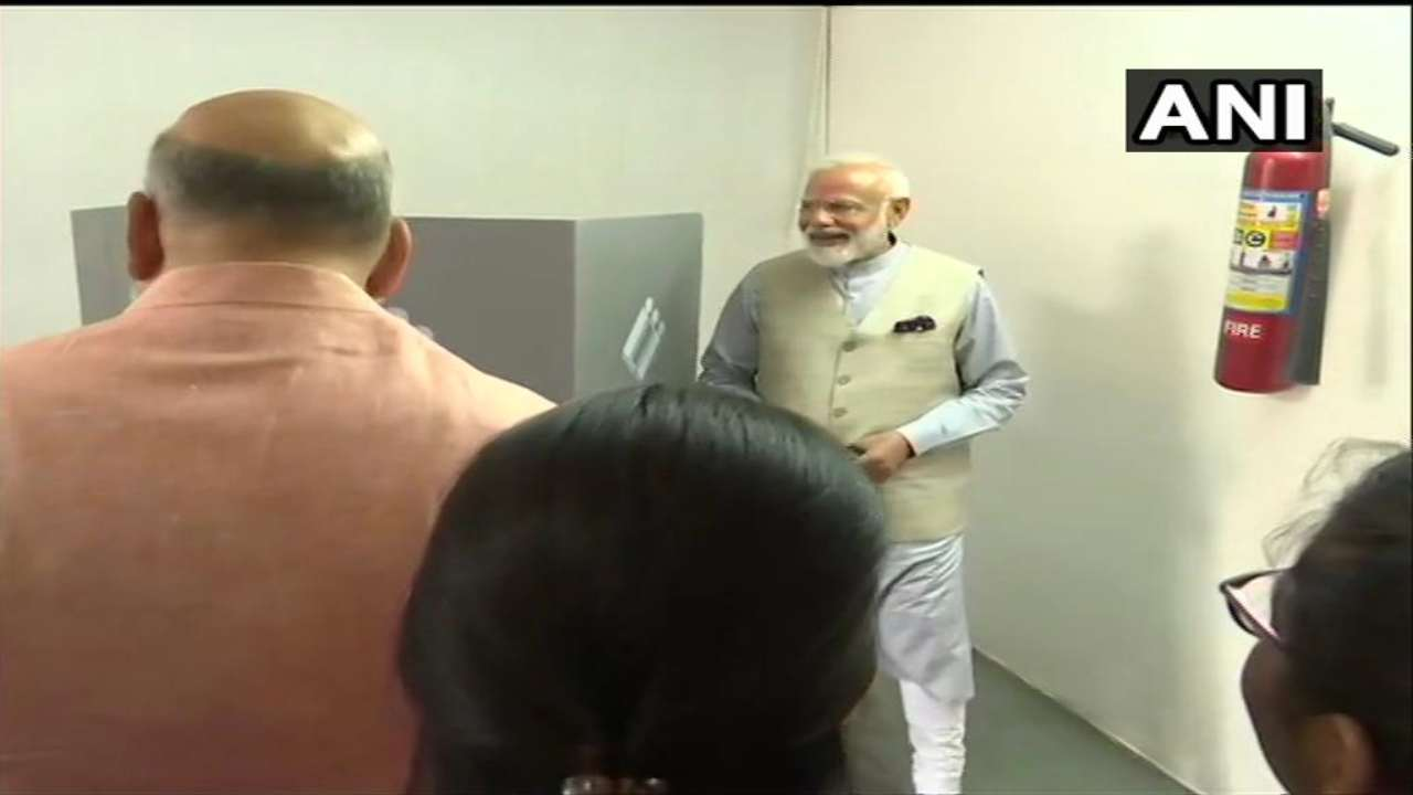 PM Modi cast his vote at the polling booth in Ranip, Ahmedabad. (Image: ANI)