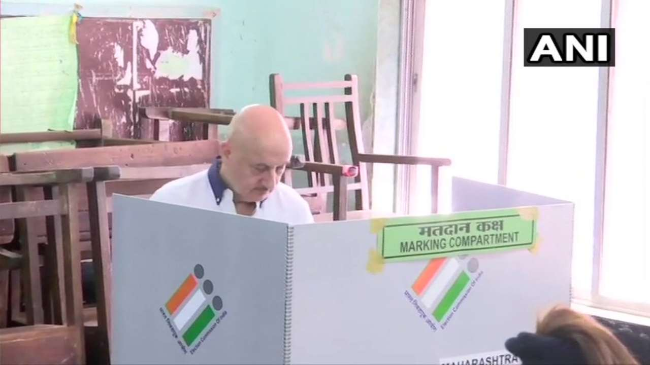Actor Anupam Kher casts his votes at polling booth no 235-240 in Juhu. (Image: ANI)