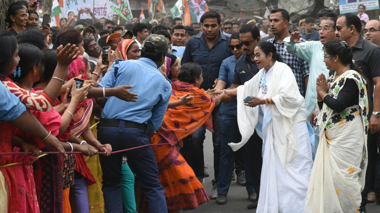 West Bengal Chief Minister and Trinamool Congress chief Mamata Banerjee during her padyatra in Nadia on April 21. (Image: Twitter/@AITCOfficial)